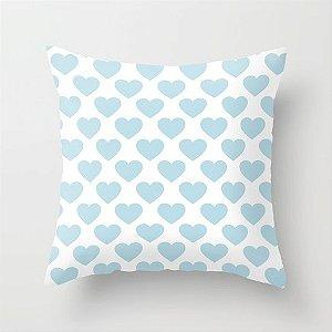 Capa de almofada Big Old Hearts Azul Bebê