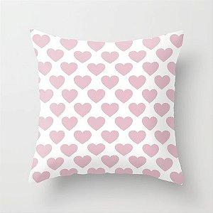 Capa de almofada Corações Rosa Bebê