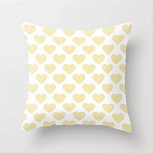 Capa de almofada Big Old Hearts Amarelo Bebê
