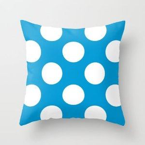 Capa de almofada Azul Céu com Bolas Brancas
