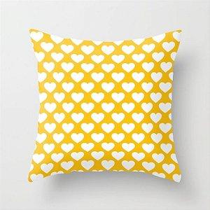 Capa de almofada Corações 2 Amarelo