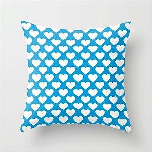Capa de almofada Corações 2 Azul Céu