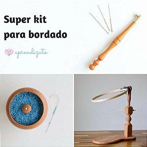 Kit inicial para bordado (agulha + potinho + bastidor + suporte)