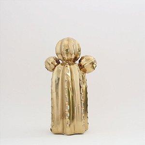 Cacto dourado em cerâmica
