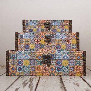 Caixas decorativas em madeira- kit 3 peças