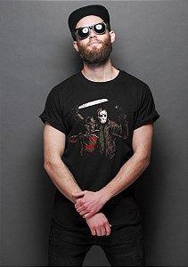 Camiseta Masculina  Freddy Krueger & Jason - Nerd e Geek - Presentes Criativos