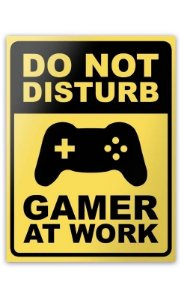 Placa Gamer at Work- 15 x 20 cm  Presentes Criativos - Nerd e Geek - Presentes Criativos