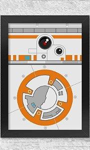 Poster com Moldura  Star Wars Side Faces - BB8  Presentes Criativos