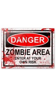 Placa - Danger Zombie Area - BLOOD EDITION - 20 x 15 cm Presentes Criativos