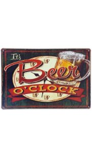 Placa de metal decorativa Retrô It's Beer o'clock Presentes Criativos - Nerd e Geek - Presentes Criativos