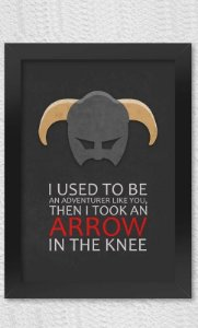 Poster com Moldura Gamer Arrow in The Knee Presentes Criativos - Nerd e Geek - Presentes Criativos