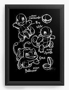 Quadro Decorativo A4 (33X24) Bulbasaur Charmander Pokemon