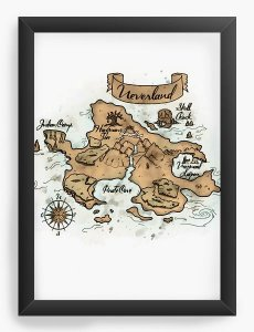 Quadro Decorativo A4 (33X24) Peter Pan- Neverland Mapa