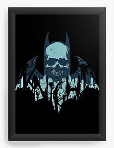 Quadro Decorativo A4 (33X24) Skull Morcego