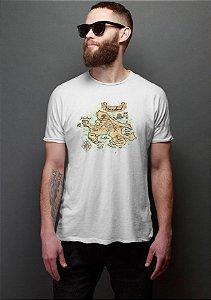 Camiseta Masculina Peter Pan Neverland Mapa