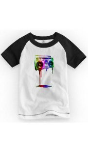 Camiseta Infantil Caixa De Som Colorida