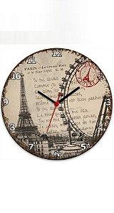 Relógio de Parede Paris Torre Eiffel - Nerd e Geek - Presentes Criativos
