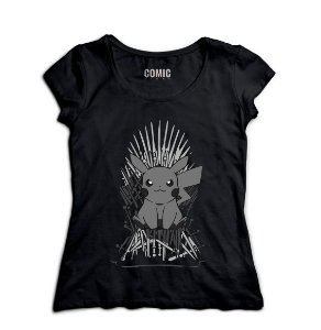 Camiseta Feminina Pokemon Thrones - Nerd e Geek - Presentes Criativos