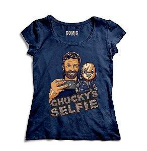 Camiseta Feminina Chucky Selfie - Nerd e Geek - Presentes Criativos