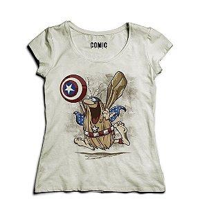 Camiseta Feminina Capitão Caverna - Cinza - Nerd e Geek - Presentes Criativos