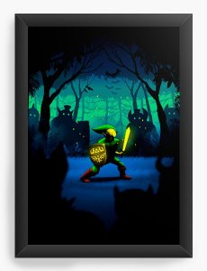 Quadro Decorativo A4 (33X24) Zelda - Link - Nerd e Geek - Presentes Criativos