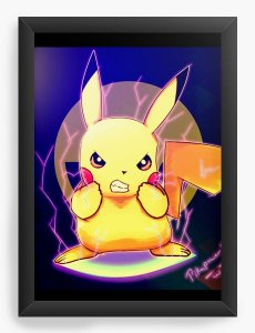 Quadro Decorativo A4 (33X24) Pikachu - Pokemon - Nerd e Geek - Presentes Criativos