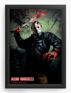 Quadro Decorativo A4 (33X24) Jason - Filme - Nerd e Geek - Presentes Criativos