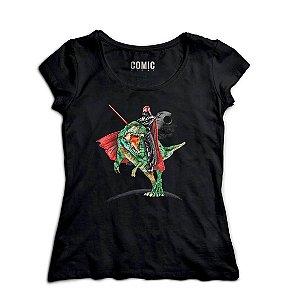 Camiseta Feminina Darth Vader e Dinossauro