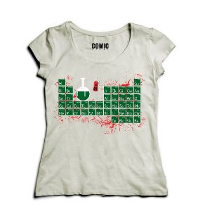 Camiseta Feminina Tabela Heisenberg - Nerd e Geek - Presentes Criativos