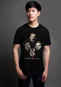 Camiseta Masculina  Killers - Horror Rhapsody - Nerd e Geek - Presentes Criativos