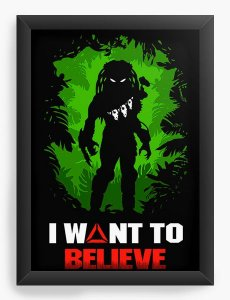 Quadro Decorativo Alien - I Want to believe - Nerd e Geek - Presentes Criativos