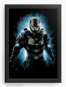 Quadro Decorativo A4 (33X24) Halo - Nerd e Geek - Presentes Criativos