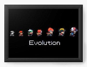 Quadro Decorativo A4 (33X24) Evolutin - Game - Nerd e Geek - Presentes Criativos
