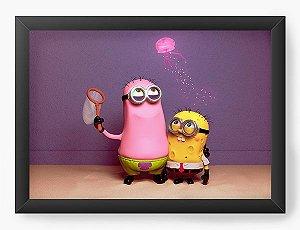 Quadro Decorativo Minions - Bob e Patrick - Nerd e Geek - Presentes Criativos