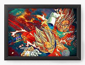 Quadro Decorativo A4 (33X24) Dragon Ball - Vegeta - Nerd e Geek - Presentes Criativos