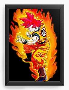Quadro Decorativo A4 (33X24) Dragon Ball on fire - Nerd e Geek - Presentes Criativos