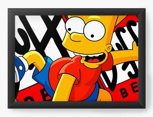 Quadro Decorativo A4 (33X24) Bart Simpson - Nerd e Geek - Presentes Criativos