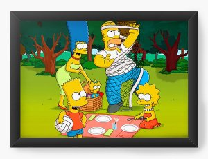 Quadro Decorativo A4 (33X24) Os Simpsons - piquenique - Nerd e Geek - Presentes Criativos