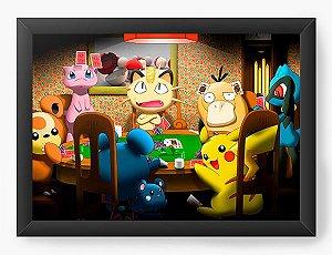 Quadro Decorativo A4 (33X24) Pokemon Playing - Nerd e Geek - Presentes Criativos