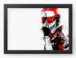 Quadro Decorativo A4 (33X24) Pokemon Ash Ketchum - Nerd e Geek - Presentes Criativos