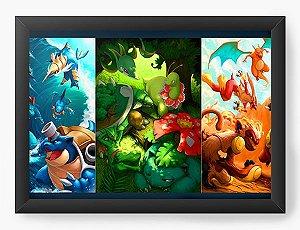 Quadro Decorativo A4 (33X24) Pokemon Dragons - Nerd e Geek - Presentes Criativos