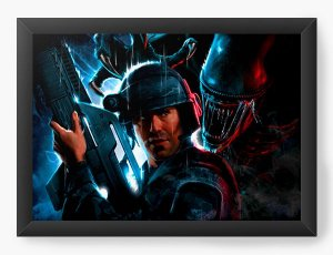 Quadro Decorativo Alien Death - Nerd e Geek - Presentes Criativos