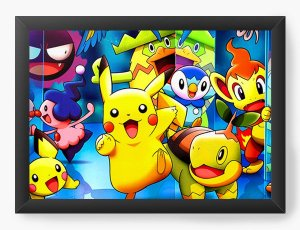 Quadro Decorativo A4 (33X24) Pokemon Pikachu - Nerd e Geek - Presentes Criativos