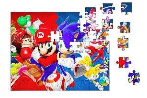 Quebra-Cabeça Super Mario Word e Sonic 90 pçs - Nerd e Geek - Presentes Criativos