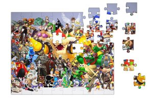 Quebra-Cabeça Super Mario, Sonic, Pikachu 90 pçs