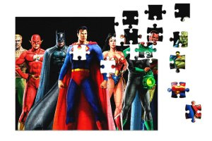 Quebra-Cabeça Liga da Justiça 90 pçs - Nerd e Geek - Presentes Criativos