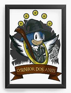 Quadro Decorativo A4 (33X24) Sonic O Senhor dos Aneis - Nerd e Geek - Presentes Criativos