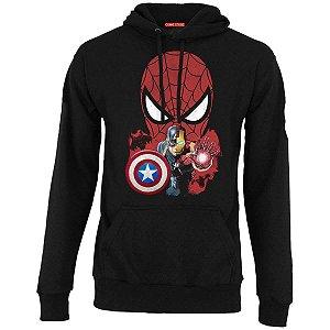 Blusa com Capuz Homem Aranha e Capitão America