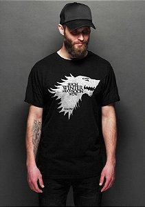 Camiseta Masculina  Game of Thrones Wolf Preto - Nerd e Geek - Presentes Criativos