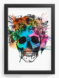 Quadro Decorativo A4 (33X24) Skull - Nerd e Geek - Presentes Criativos